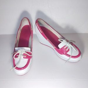 White | Pink Timberland Wedges 9M